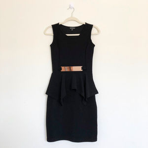 Dresses & Skirts - Mesmerized Black Peplum Dress with Gold Accent